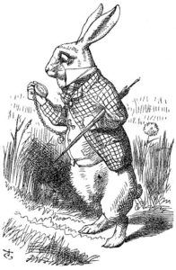 White Rabbit checks his watch, illustration from Alice's Adventures in Wonderland, 1865 engraving by John Tenniel