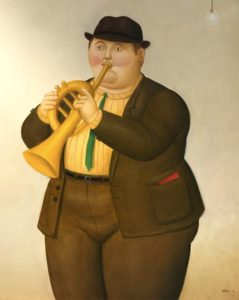 Musician, 2016 Oil on canvas 39 × 31 1/10 inches by Fernando Botero
