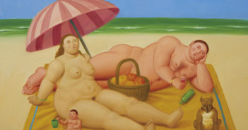 Nudist Family, 2009 Oil on canvas 39 3/10 × 52 1/2 inches by Fernando Botero (b. 1932)