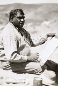 Namatjira, Albert (1902 - 1959), (Arrernte) Namatjira was the first indigenous artist to paint and exhibit professionally in Western style. Source: Australia Post, July 2002, on the release of the Namatjira Centenary stamp series. National Library of Australia photo, 1946.