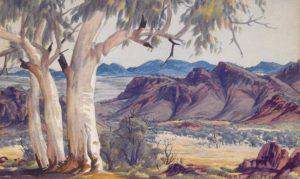 Ghost Gums, MacDonnell Ranges Watercolour by Albert Namatjira (1902-1959)