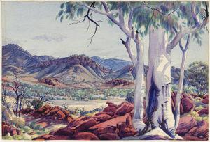 Alice Springs Country, 1954 Watercolour 35.5 h x 51.5 w cm by Albert Namatjira