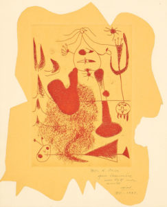 Frontispiece, for Sablier couché (Reclining Hourglass) (D. 20, C. 5), 1938 Etching in red, on cut yellow paper, Chine collé to laid Arches paper. 8 3/10 × 12 1/2 inches by Joan Miro