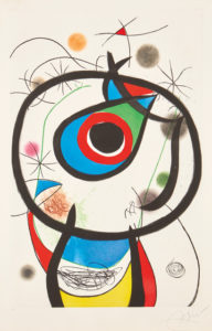 Galathée (Galathea) (D. 931), 1976 Etching and aquatint in colors with embossing, on Arches paper, with full margins. 54 3/10 × 38 inches by Joan Miró (1893-1983)