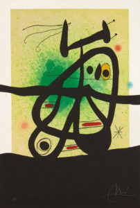 L'Oiseau Mongol (Mongolian Bird) (D. 513), 1969 Etching and aquatint in colors with carborundum, on Arches paper, the full sheet. 40 1/2 × 27 1/2 inches by Joan Miró