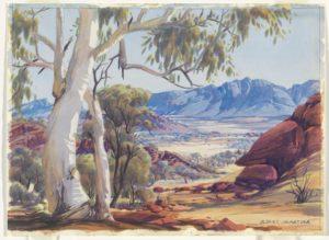 Untitled (Ghost gum, Mt Sonder, MacDonnell Ranges), c 1953 Watercolour by Albert Namatjira