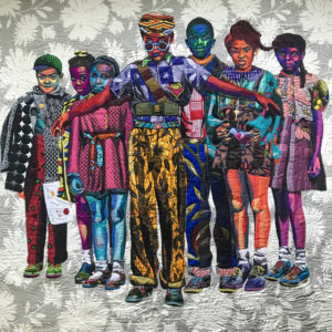 The Safety Patrol, 2018 Quilted and appliquéd cotton, wool and chiffon 82 × 90 inches by Bisa Butler (b. 1973)