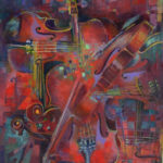 "Violin Mashup 36"" x 24""  acrylic on canvas"