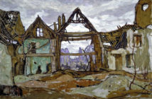 "Houses of Ypres  by A.Y. Jackson (1882-1974) ""What to paint was a problem for the war artist… The old heroics, the death and glory stuff, were gone for ever; The impressionist technique I had adopted in painting was now ineffective, for visual impressions were not enough."" (A.Y. Jackson)"