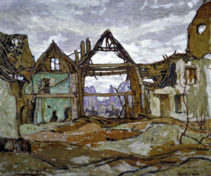 """Houses of Ypres by A.Y. Jackson (1882-1974) """"What to paint was a problem for the war artist… The old heroics, the death and glory stuff, were gone for ever; The impressionist technique I had adopted in painting was now ineffective, for visual impressions were not enough."""" (A.Y. Jackson)"""