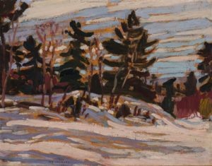 Winter, Algoma / Wood Interior (verso), 1920 Double-sided oil on board 8.3 x 10.5 inches by A.Y. Jackson