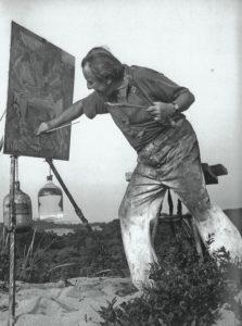 Hans Hofmann Painting in the Dunes, 1942. Herbert Matter photo.