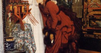 Young Ladies Looking at Japanese Objects, 1869 Oil on canvas 27.7 inches 19.7 inches by Jacques Joseph Tissot (1836-1902)