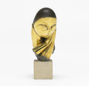 Mlle Pogany version I, 1913 (after a marble of 1912) Bronze with black patina 17 1/4 x 8 1/2 x 12 1/2 inches on limestone base by Constantin Brâncuși (1876-1957)
