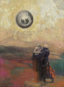 The Black Sun, c. 1900 Oil with incising on board 12 3/4 x 9 3/8 inches by Odilon Redon (1840-1960)