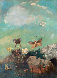 Papillon, 1910 Oil on canvas 29 x 21.6 inches by Odillon Redon