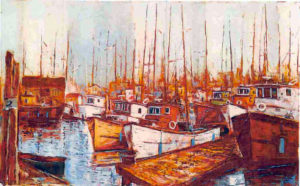 Boats in the Harbour Oil on canvas 30 x 48 inches by GyulaMarosán