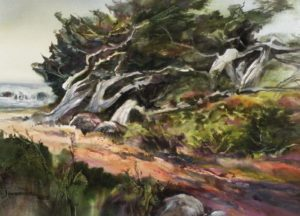 Wind Sculpture Watercolour 22 x 30 inches by Jane R. Hoffstetter