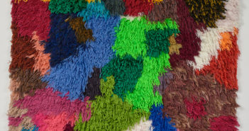 Rug 1, 2019 Handwoven fabric, natural and synthetic fabric, hair 74 4/5 × 59 1/10 inches by Sarah Zapata (b. 1988)