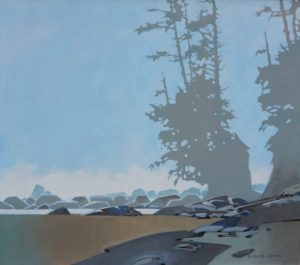 Sea Stack Pattern - Dare Beach on the West Coast Trail, 1996 30 x 34 inches Acrylic on canvas by Robert Genn (1936-2014)