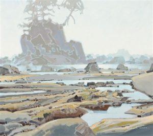 A Sea Stack on Carmanah Beach on the West Coast Trail, 1996 30 x 34 inches Acrylic on canvas by Robert Genn