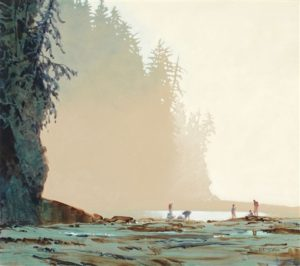 At Cullite Creek on the West Coast Trail, 1996 30 x 34 inches Acrylic on canvas by Robert Genn