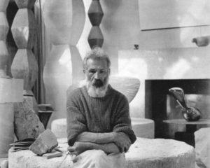 Constantin Brâncuși in his studio, n.d.