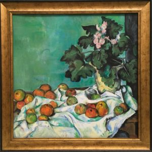 Denise Dupre's copy of Still Life with Apples and a Pot of Primroses, ca. 1890 by Paul Cézanne (1839-1906)