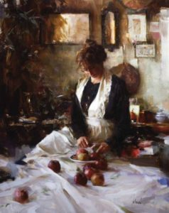 Nancy and Apples Oil on canvas 30×24 inches by Richard Schmid (1934-2021)