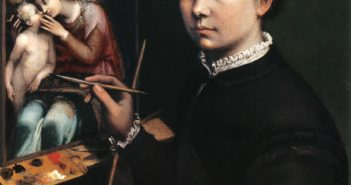 Self-Portrait at the Easel Painting a Devotional Painting, 1556 Oil on canvas 25.9 x 22.4 inches by Sofonisba Anguissola