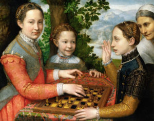 The Chess Game, 1555 Oil on canvas 28.3 x 38.1 inches by Sofonisba Anguissola (c.1532-1625)
