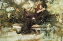 Park Bench Oil on canvas by Richard Schmid
