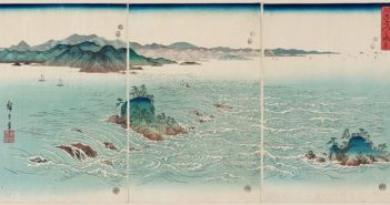View of the Whirlpools at Awa triptych, 1857, part of the series Snow, Moon and Flowers Colour woodblock by Utagawa Hiroshige