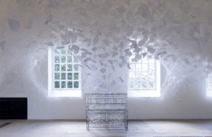 Beyond Time, 2018. White thread, metal piano, musical notes. by Chiharu Shiota