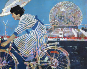 Girl in Motion, 1986 Acrylic on canvas 30 x 34 inches by Robert Genn This painting was the official image for The 1986 World Exposition on Transportation and Communication, Expo '86 held in Vancouver, B.C.
