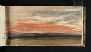 Red Sky and Crescent Moon circa 1818 Watercolour on paper 125 × 247 mm by J.M.W. Turner