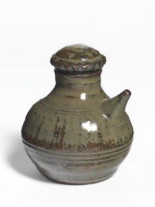 Soya Sprinkler Bottle, c.1955 Reduced stoneware 90 × 90 × 90 mm by Michael Cardew
