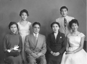 Winnipeg, Spring, 1955 Family portrait as Atsuko is about to leave for Japan to marry her fiancé Hisao Tsushima L-R: Atsuko, Betty, Kohei, Kimie, David, Carol