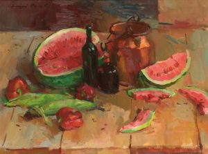 Red Watermelon Still Life Oil on canvas 30 x 40 inches by Sergei Bongart