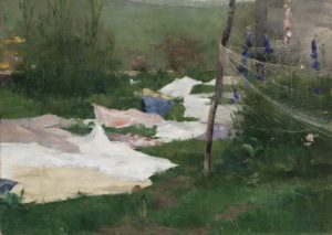 Clothes Drying, 1883 Oil on canvas 39 x 54.5 cm by Helene Schjerfbeck