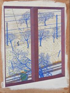 Les Avants, Switzerland, 1980 Oil on fibreboard 33 x 44 cm by Peter Newton