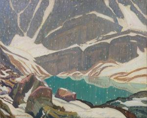 Mountain Solitude (Lake Oesa), 1932 Oil on canvas 66.7 x 50.4 cm by J.E.H. MacDonald