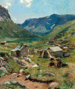 Summer Day: View of the Valley of Skogstad, 1902 Oil on canvas by Eliff Pedersen