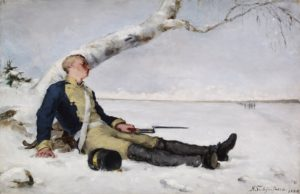 Wounded Warrior in the Snow, 1880 Oil on canvas' 39 x 59.5 cm by Helene Schjerfbeck