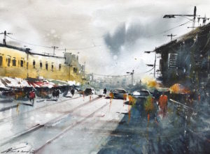 Business Day II, 2020 Watercolour on Arches 300 gram Watercolour Paper 22 × 29 9/10 inches by Jonathan Kwegyir Aggrey (b.1984)