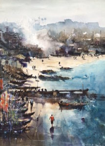Cape Coast Fishing Bay, 2020 Watercolour on Arches 300 gram Watercolour Paper 29 9/10 × 22 inches by Jonathan Kwegyir Aggrey