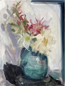 Dahlia, Dahlia, Gladioli 2019 Oil on board 60.5 x 46 cm by Serena Rowe