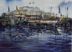 Elmina Ripples, 2020 Watercolor on paper 22 × 29 9/10 inches by Jonathan Kwegyir Aggrey