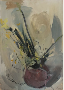 Reaching, 2021 Oil on board 59 x 41.5 cm by Serena Rowe