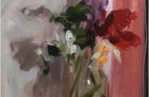 Daffodil, Tulip and Hyacinth, 2018 Oil on board 35 x 28 cm by Serena Rowe (b. 1977)
